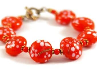 Orange Lampwork Glass Bracelet - Orange Flower Bracelet - Orange Brass Bracelet - Orange White Bracelet - Bright Orange Bracelet