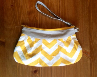 Yellow and Gray Pleated Canvas Clutch with Wrist Strap | Bridesmaid Gift | Zippered Wristlet | Wedding Bag|