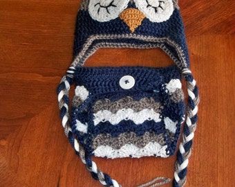 Crocheted Baby Boy chevron Owl Beanie and Diaper Cover Photo prop