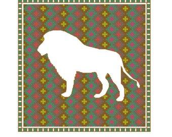 Lion cross stitch pattern, 4 x PDF cross stitch charts lions