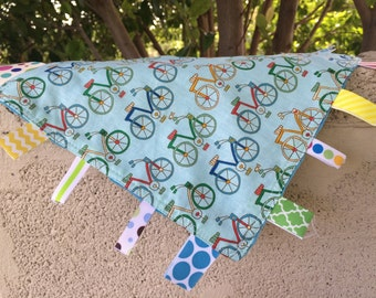 Bike Ride Tag Blanket with blue Minky // In Stock, READY TO SHIP