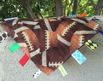 Football Tag Blanket with your choice of Minky // In Stock, READY TO SHIP