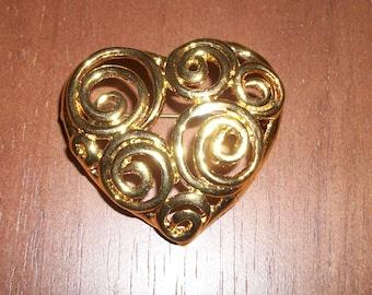 Gold-tone Swirly Heart  Brooch/Pin