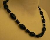 vintage jewels ...  FAB RETRO Black Beads and Shiny Gold NECKLACE vintage antique plastic celluloid bakelite    ...