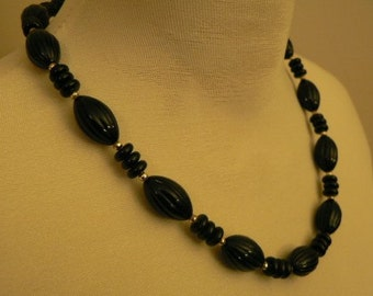 vintage jewels ...  FAB RETRO Black Beads and Shiny Gold NECKLACE vintage antique plastic celluloid bakelite    ...