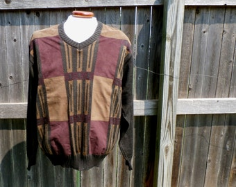 Vintage Mens Sweater Southwest Suede Wool Dalmine Uomo 1990s Large