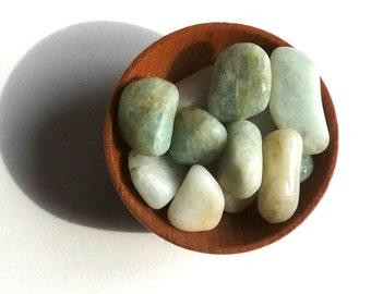 AQUAMARINE--- tumbled stones- beryl
