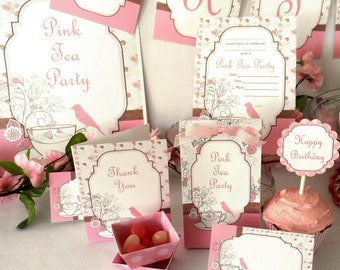 Pink Tea Party Birthday Printable Party Pack Kit Instant Download