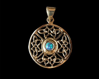 Solid Bronze Celtic Round 4 Knot Pendant with a Opal Center stone  - Free Shipping Worldwide