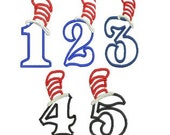 Cat in the Hat Applique Embroidery Design, Cat Hat Applique Numbers, Instant Download
