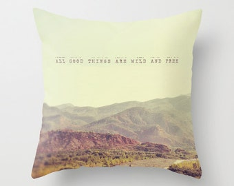 Pillow Cover, Morocco Travel Photography, Nature, Mountains, Quote, Home Decor, Vintage Look Cushion, Dreamy Landscape, Ourika Valley, Zen