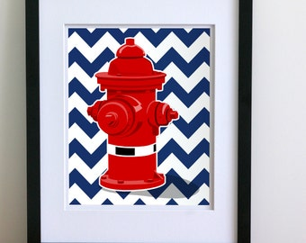 Fire hydrant for fire truck art - pick your colors - fireman nursery art from Paper Llamas