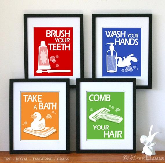 Bathroom Art Prints,  set of 4 - custom colors - children's bathroom rules- kids bathroom decor