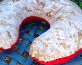 Create Your Own USMC Boppy Pillow Cover. You Choose Solid Minky Color. Desert or Woodland Camo Available