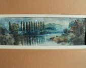 Vintage Watercolor Landscape Scene of a lovely lake in the moonlight surrounded by trees, mountains and land with a Full Moon