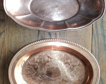 2 Vintage Copper Serving Trays/Bowls  made by Coppercraft Guild of Taunton, Massachusetts, Oval Shaped Bowls with Etched Design, Set of Two