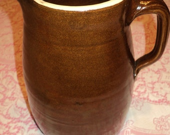 Vintage Rustic Primitive Style Clay Pitcher, Brown Glazed Ceramic Finish with handle for display or for pouring liquids in Mint Condition