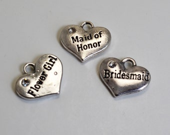 Bridal Charms with rhinestone. Bridesmaid, Maid of Honor, Flower Girl. For bracelets or necklaces (with bracelet or necklace purchase only)
