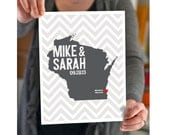 Wisconsin Wedding Gift - Personalized State and Heart - Custom Wedding Date - Anniversary - Location City State Modern Art Print - 8x10