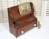 Vintage Spice Rack / Wood Spice Cabinet / Spindle Wood / Drawer With Porcelain Knobs / Vintage Display Shelf