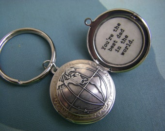 Silver Globe Locket Key chain key ring  You're the best dad in the world father's day gift father of the bride