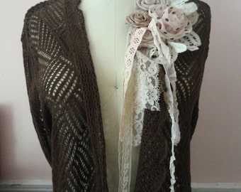 Linen Sweater, Bohemian Embellished  Cocoa Brown Sweater, J. Jill, Open Weave Sweater with Fabric Flowers, Altered Sweater