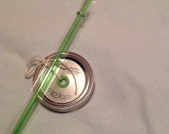 Mason Jar Drink Lid and Straw - Green Apple Grommet and Matching Straw. Create your own Mason Jar Tumbler. DIY Tumbler. Mason Jar. Reusable