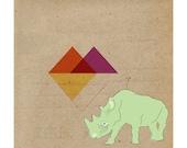 Contemporary Art Print- Rhino Geometric 9x9