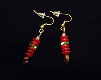 Simple Red Dangle Earrings
