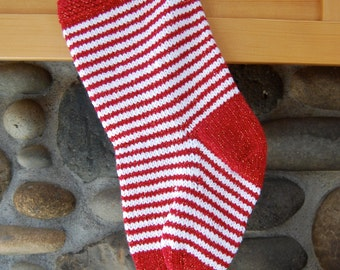 Dark red striped Christmas stocking - red and white striped stocking - hand knitted stocking - burgundy stocking