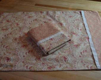 Handmade Pillowcase Pair Cottage Beach Chic Peach Border Standard Pillow Vintage Look