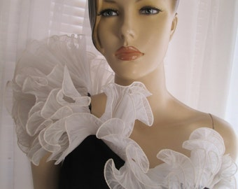 1960's Ladies Black/White Ruffled Top One Shoulder Dress by AFTER FIVE/Imagin