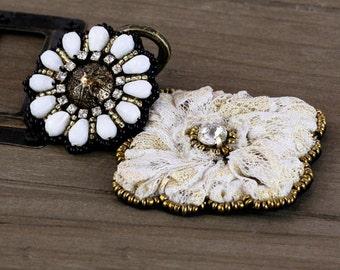 SALE Prima Zephyr Taos Embellishment - Gorgeous Beaded Appliques- 2 pcs