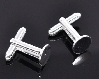 Silver Cuff Links - Glue on Settings - 2 pairs - 25x10mm - 10mm Glue Pad - Ships IMMEDIATELY  from California - A304