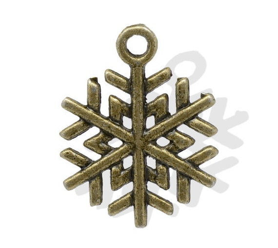 Snowflake Charms Bronze Antique 19x17mm 10pcs - Ships IMMEDIATELY  from California - BC102