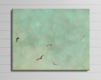 Large Wall Art, Bathroom Wall Decor, Mint Canvas Art, Birds Flying, Sky Photograph, Green Canvas Wall Art, 30x30 Artwork