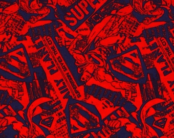 David Textiles - Superman News - Red/Navy
