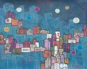 Fine Art Print  of my Original Painting titled Neighborhood Branches
