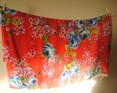 RESERVED: 2 Yards Red sheer with Blue floral apparel fabric