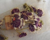 Set of 3 Antique French Ombre Ribbon Millinary Spray of Violets  Never Used FREE SHIPPING