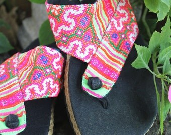Womens Flip Flop Vegan Thong Sandals In Colorful Hmong Embroidery - Nikki