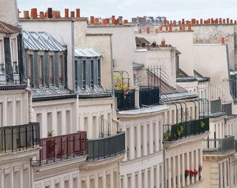 Paris Rooftop Photograph, Windows and Balconies, French Architecture Fine Art Photograph, Urban Wall Decor, Large Wall Art