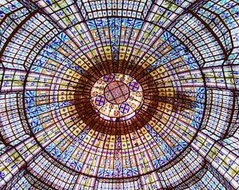 Paris Photography, Stained Glass Ceiling Printemps, Fine Art Travel Photograph, Large Wall Art, Paris Wall Decor