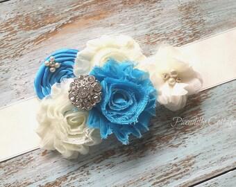 Turquoise Flower Girl Bridal Sash, Flower Girl Sash, Maternity Sash, Bridesmaid Sash, Custom Sash, Flower Sash, Satin Bridal Sash