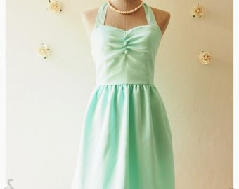 BLOOM : Mint green dress vintage inspired party dress prom evening dress mint green bridesmaid party dress plus size - size xs-xl, custom