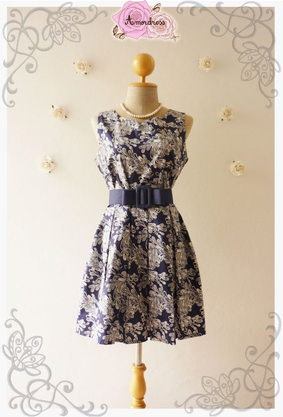 SWEET DAY DRESS: Navy Filigree Dress Mini Navy Dress Sleeveless Dress Pleated Skirt Cute Dress Little Black Dress Summer Dress-Size S