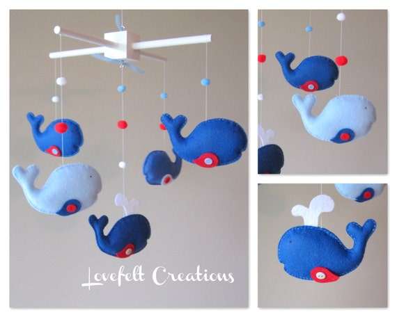 Baby Mobile - Custom Baby Mobile - Whale Mobile  - You can pick your colors :)