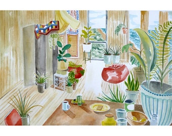Beach House and Plants Art Print
