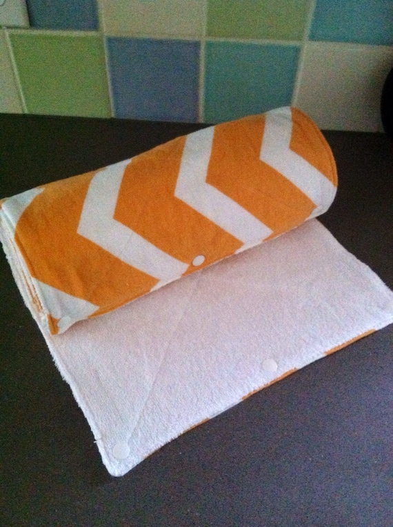 Reusable Cloth UnPaper Towels with Snaps Orang white large chevron Set of 10