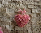 Dollhouse Miniature Shabby Chic Creamy Pink Vintage Style Wall Art Vintage Heart Shaped Flowers